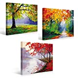 MOXO Green and Red Trees Canvas Abstract Trees Oil Painting Prints 3 Panels Framed and Streched For Wall Art Living Room Bedrrom Dining Room