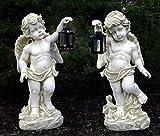 2er Set Dekofigur Gartenfigur Skulptur XXL Statue - Engel mit Laterne 102 cm hoch - wetter-, uv- und frostfest 17 kg Gewicht pro Engel