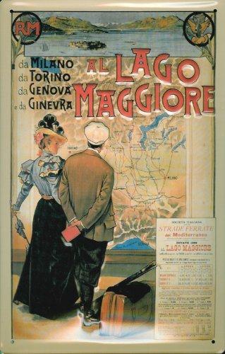 Blechschild Nostalgieschild Lago Maggiore Italien retro Schild Werbeschild
