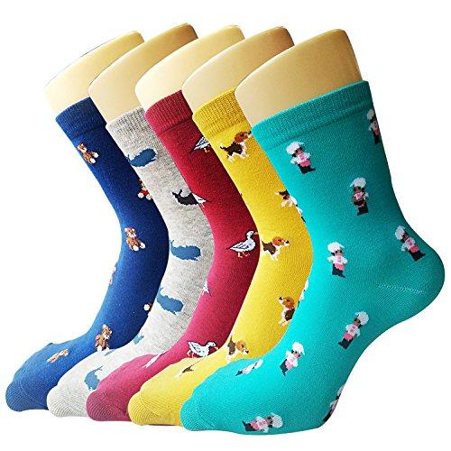 5 Pärchen Damen Baumwolle Crew Socken Niedliche Tiere warme Casual Wolle Socken Bunt Muster Socken (Crew-socken Casual)