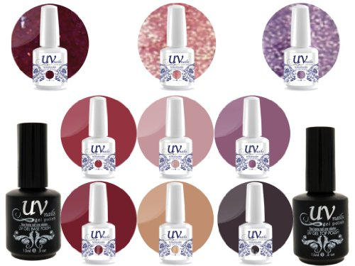 UV Nail Gel Proffesionel Collection DayDream 3 Paillettes Vibrante+6 Gels+Base&Top+Polissoir a Ongles Aviva