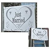 Fensterfahne JUST MARRIED - mit Saugnäpfen - Hochzeitsdeko - Weiss - Hochzeitsschmuck - Fahne - Hochzeit