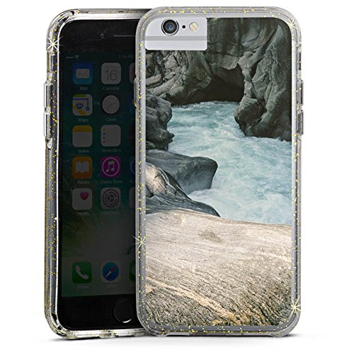 Apple iPhone 6 Plus Bumper Hülle Bumper Case Glitzer Hülle Felsen Natur Stein Bumper Case Glitzer gold