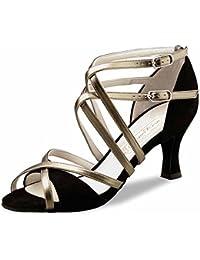 misu - Zapatillas de danza de poliuretano para mujer multicolor negro/rojo, color multicolor, talla 35.5