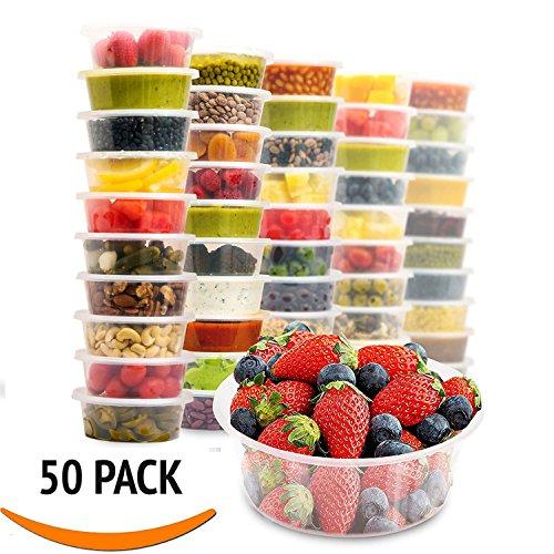 Zuvo Kunststoff Mikrowelle 50x Rund Lebensmittel Takeaway Gefrierschrank safe- Einweg Lunch-Boxen 50Pack–Einweg Lebensmittelbehälter und Deckel, 500 ml (Kunststoff-einweg-behälter)