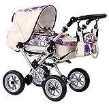 Zekiwa Kombipuppenwagen Zeki Elegance, hochmodischer Puppenwagen, mit Tragetasche und Fusssackfunktion, Anhängetasche inklusive, Dessin: Blume Beige