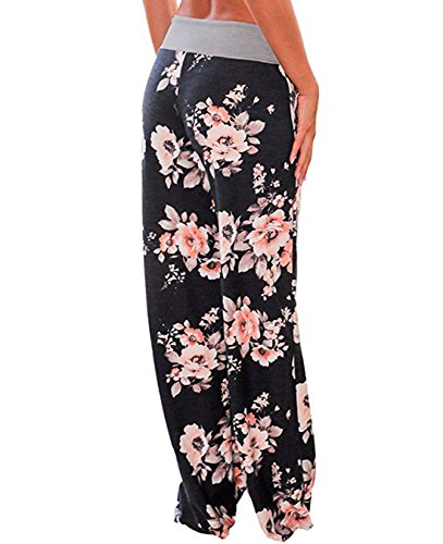 best sneakers 2fe16 7205b FASTYLING Damen Sporthose lang Freizeithose Ladies Floral Print Wide Leg  Long Trousers Grau2