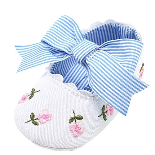 Fossen Bebe Niña Zapatos Recien Nacido Primeros Pasos Bordado Floral Bowknot Antideslizante Suela Blanda Zapatos (6-12 meses, Blanco)