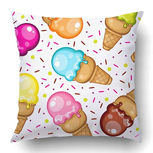 Covers Colorful Berry Ice Cream Cone Pattern Pink Cartoon Chocolate Collection Delicious Drawing Food Polyester Square Hidden Zipper Decorative Pillowcase 20x20 inch ()