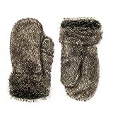 Futrzane Fell Handschuhe Winterliche Damen Herren Fausthandschuhe Aus Kaninchen Kunstfell (Aschgrau)