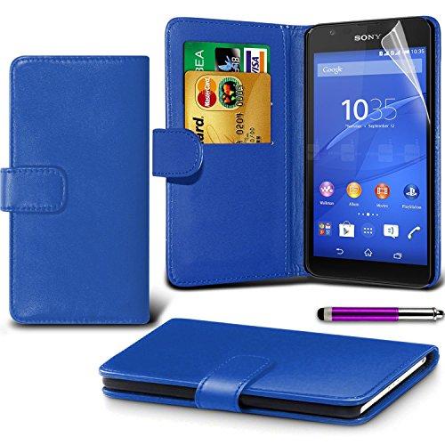 Sony Xperia E4g Blue Farbe PU Lederetui Buch-Stil Handy Hülle mit Displayschutz-Folie & Eingabestift von Gadget Giant®
