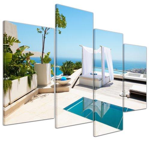 Wandbild - Malediven - Pool - Bild auf Leinwand - 120x80 cm 4 teilig - Leinwandbilder - Bilder als Leinwanddruck - Urlaub, Sonne & Meer - Südsee - Pavillon am Swimmingpool -