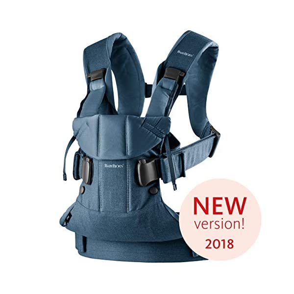 BABYBJÖRN Baby Carrier One, Cotton Mix, Classic Denim/Midnight Blue, 2018 Edition Baby Bjorn The latest version (2018) - now even more flexible and soft! Ergonomic baby carrier with excellent support. We recommend that you only start carrying your child on your back after the age of 12 months since this position does not offer the same degree of supervision 4 carrying positions: facing in (two height positions), facing out or on your back 1