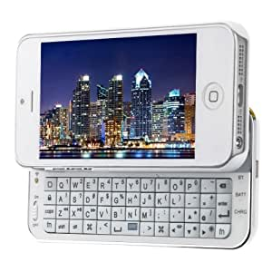 White iPhone 5 Ultra-thin Wireless Bluetooth V3.0 Keyboard with Back Case for iPhone 5