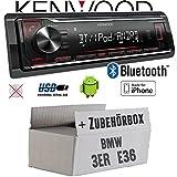 BMW 3er E36 - Autoradio Radio Kenwood KMM-BT204 - Bluetooth | MP3 | USB | iPhone - Android - Einbauzubehör - Einbauset