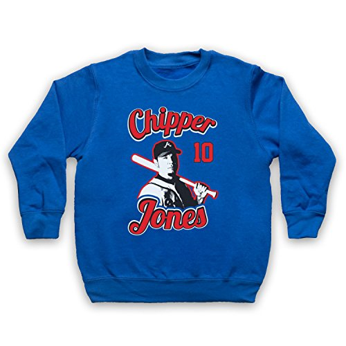 Inspiriert durch Chipper Jones Atlanta Braves Baseball Inoffiziell Kinder Sweatshirt, Blau, 12-13 Jahren (13 Chipper)