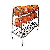 YBWEN Palla Rack Acciaio Inossidabile Pallacanestro Bagagli Rack Palla Sport Rack Basket Bagagli Medicina Balls (Colore : Argento, Dimensione : 3 Tier)