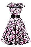 Babyonline® Damen Mode 50er 60er Jahre Vintage Bekleidung Festliche Abendkleider Lang Elegant Swing Pinup Faltenrock M