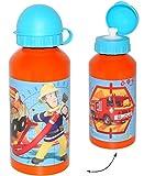 alles-meine.de GmbH Trinkflasche / Sportflasche -  Feuerwehrmann Sam  - Alutrinkflasche - aus Aluminium 450 ml - für Kinder Aluflasche 0,45 Liter / auslaufsicher - Flasche Jung..