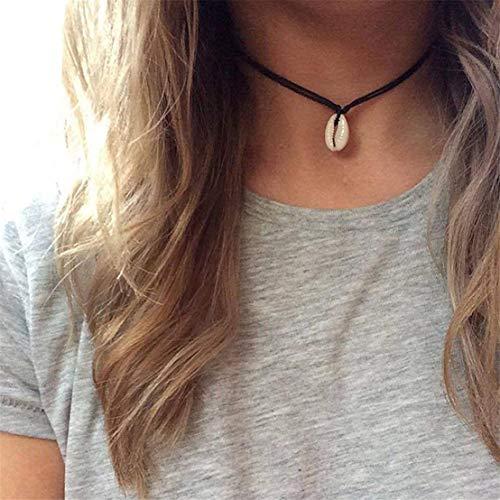 Kissherely 1 Stück einfache Shell Halskette Boho Choker Anhänger Halskette böhmischen Schmuck Geschenke (schwarz)