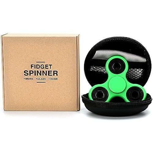 fidget spinner el nuevo juguete de moda Cosy Zone Tri Fidget dedo de mano Spinner EDC ADHD Focus Toy ultra duraderos de alta velocidad Si3N4 Hybrid cerámica teniendo 1-3 Mins giros no-3D impreso - juguete de dedo, gran regalo (Hierba Verde)