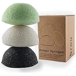 Brou   Eponge Faciale Konjac Premium   3 Pack   Bio   Biodégradable   Ecologique   Sans Plastique   Sans Plastique   Ecologique