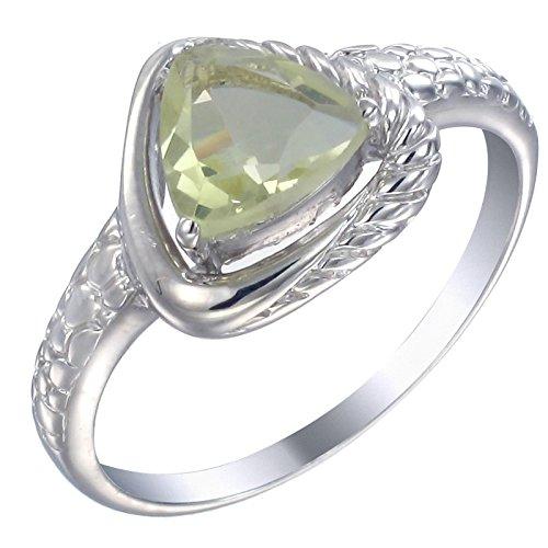 Vir Jewels - Anello con 1,1 carati di quarzo citrino giallo-verde, in argento Sterling 925, Argento, 19, cod. R14682LQS9