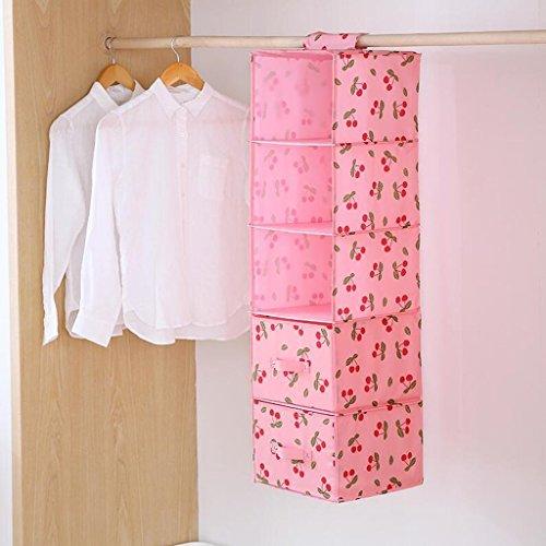 GAIHU Pink Cherry Pattern Schublade Schrank Aufbewahrungstasche Hängende Kleidung Unterwäsche Aufbewahrungstasche fünf Schichten (27*28*102cm) (Farbe: vier Schubladen) (Schublade Vier Oxford)