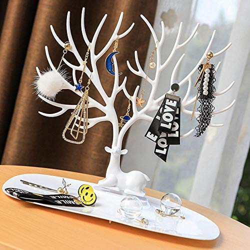 Volwco - Portagioie a Forma di Albero, per Appendere Gioielli, collane, bracciali, portagioielli Decorativo, con Corna di Cervo Bianco