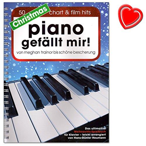 Christmas Piano gefällt mir - 50 Chart und Film Hits - ultimative Weihnachts-Spielbuch für Klavier in Spiralbindung - arrangiert von Hans-Günter Heumann - mit bunter herzförmiger Notenklammer
