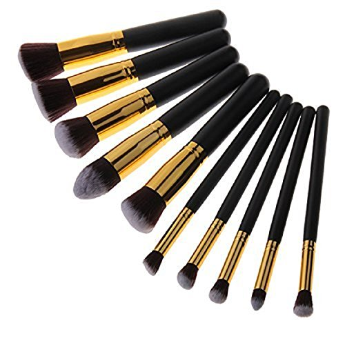 Butterme 10 Pcs Professionnel Maquillage Ensemble Brosses Pinceaux de Maquillage Brosses Cosmétiques pour le visage Ombre à paupières Eyeliner Fard à joues