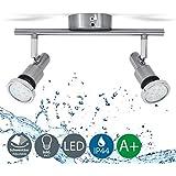 Lámpara de techo para baño IP44 incl. 2x5W LED bombillas orientables GU10 I Focos de