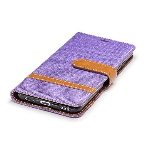 Hülle für Huawei P10, Tasche für Huawei P10, Case Cover für Huawei P10, ISAKEN Farbig Blank Muster Folio PU Leder Flip Cover Brieftasche Geldbörse Wallet Case Ledertasche Handyhülle Tasche Case Schutz Leinen Lila