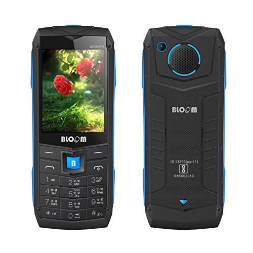 bloom Sporty Keypad Rugged Phone with Digital Camera, 2.4 Inches QVGA Display, Dual Sim (GSM+GSM) Standby, SDCard Support, 3.5 mm Music Jack (Blue)