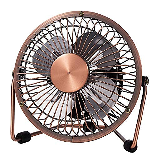 YAOUF2DF USB Desk Fan 4 Inch Mini Portable Ultra Quiet Cooling Fan 360°Rotation for Home Office Table USB Powered Only Retro Bronze Design -