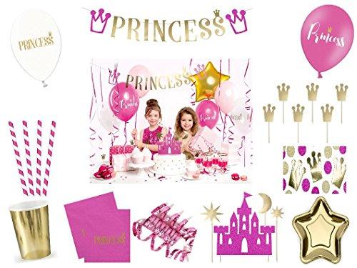 XXL Party Deko Set 1.Geburtstag Kindergeburtstag Princess pink gold für 6 Personen (67 teilig) Party Deko Prinzessin Party Geschirr