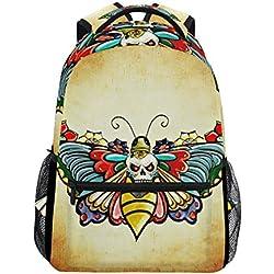 Mochila escolar con mariposa calavera, escolar, impermeable