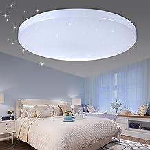 VINGO® LED Deckenleuchte Sternenhimmel Effekt 50W Kaltweiß Rund Φ450*95mm  Wohnzimmer Flur Badlampe Schöne