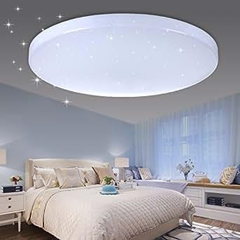vingo led deckenleuchte sternenhimmel effekt 50w kaltwei rund 450 95mm wohnzimmer flur. Black Bedroom Furniture Sets. Home Design Ideas