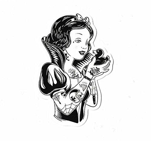 Preisvergleich Produktbild greestick Aufkleber Sticker Schneewittchen Tattoo Märchen Snow White Schwarz Weiß Pickerl Kinder