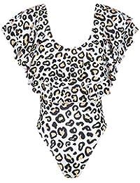 QinMMROPA Bañador para mamá e Hija, Mujeres bebé Niñas bañadores de Leopardo Volantes Monokini bañador de Natación Bikini Trajes de baño