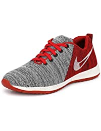 Fucasso Men's Fine Quality and Comfortable Grey Red Sports Shoes