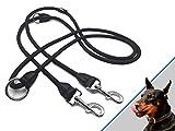 wolfsgen Professionale doppio guinzaglio - 280 cm - 4 regolabile in lunghezza - tela di nylon con elementi in pelle - per 2 cani
