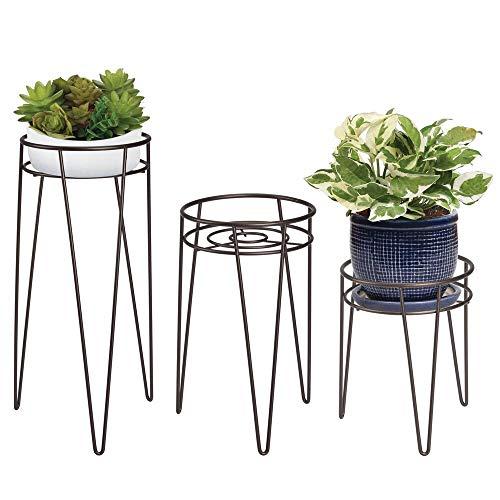 mDesign 3-er Set Midcentury Pflanzenständer für Blumen, Sukkulenten aus Metall - runder Blumenständer im modernen Design - vielseitig nutzbare Blumensäule für drinnen und draußen - bronzefarben