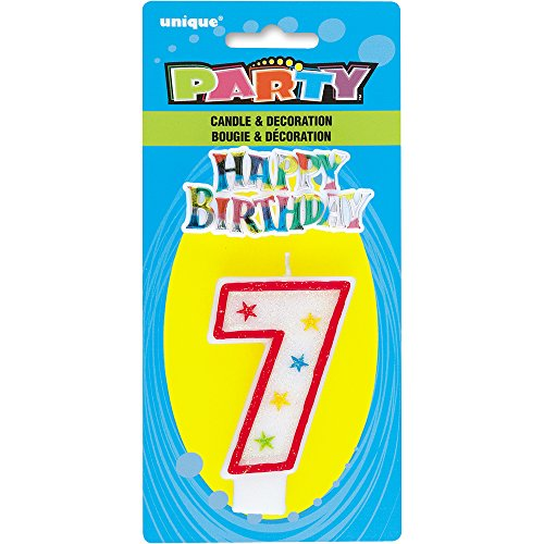 Unique Party - 37317 - Bougie à Paillettes d'Anniversaire Numéro 7 et Décoration pour Gâteau - Happy Birthday 0011179373178