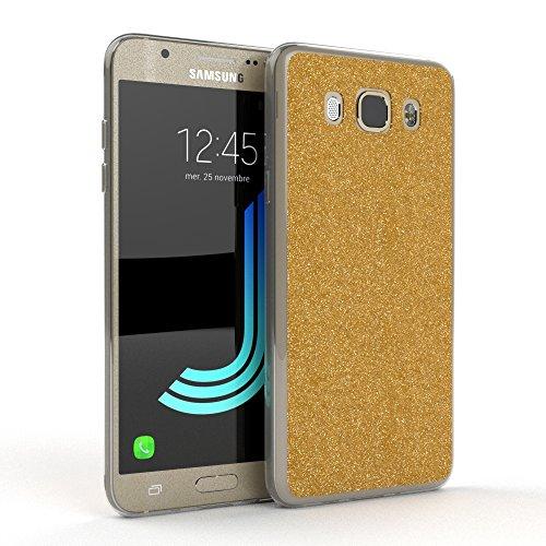 Samsung Galaxy J5 (2016) Hülle - EAZY CASE Handyhülle - Ultra Slim Glitzer Schutzhülle aus Silikon in Rosé Glitzer Gold