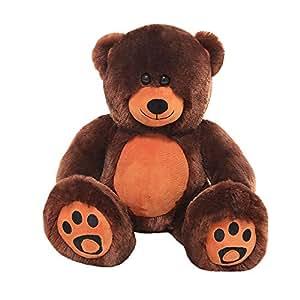 VERCART Groß Teddybär Spielzeug Stofftier Kuschelig Plüschbär Geschenk für Kinder Teddy Dunkelbraun 25cm