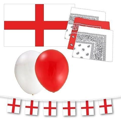 England St George Party Dekoration Garnitur - Flagge / Fahnentuch / Luftballons & Bandanas (George Englische Flagge)
