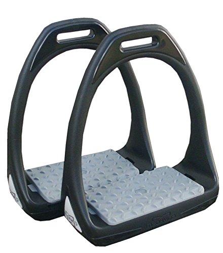 Amesbichler Kunststoffsteigbügel Reflex mit Flexibler breiter Trittfläche schwarz/grau | Compositi Steigbügel aus Kunststoff