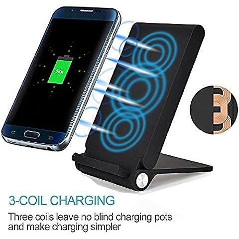 3 bobines LED Qi chargeur induction sans fil Plater Pliable Comb Chargeur Station de recharge station d'accueil pour Samsung Galaxy S8 / S8 Plus / S7 / S7 Edge / S6 / S6 Edge / Note 5, Nokia Lumia, Google Nexus, LG et Smartphones Qi,